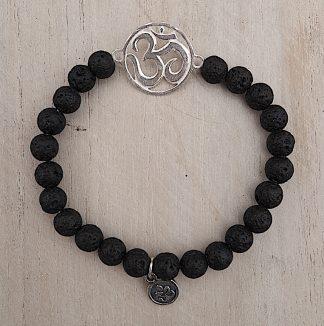 ručně vyrobený náramek Lávové kameny se stříbrným OHM 6 mm