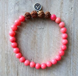 ručně vyrobený náramek Korál růžový a Rudraksha 6 mm