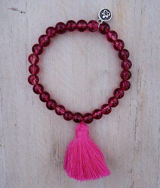 ručně vyrobený náramek Křišťál růžový s růžovým střapečkem 6 mm