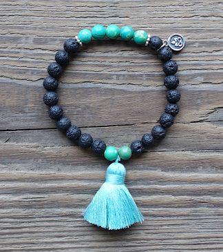 ručně vyrobený náramek Lávové kameny a Amazonit zelený 6 mm