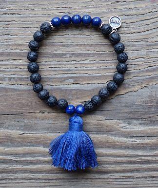 ručně vyrobený náramek Lávové kameny a Lapis Lazuli 6 mm