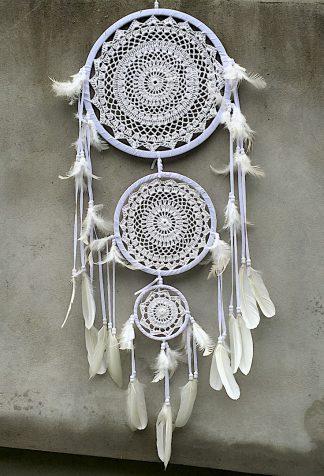 ručně vyrobený lapač snů bílý tři kruhy 105 cm