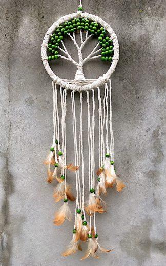 ručně vyrobený lapač snů se stromem života zelené korálky 80cm