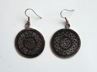 stříbrné náušnice Mandala 4,7 cm černé