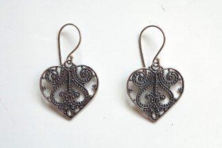 stříbrné náušnice Srdíčko 3,6 cm z ryzího stříbra