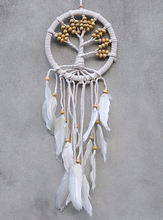 ručně vyrobený lapač snů strom života bílé korálky 55 cm