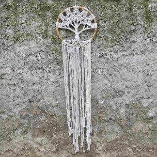 ručně vyrobený lapač snů drhaný strom života v bambusovém kruhu 100 cm