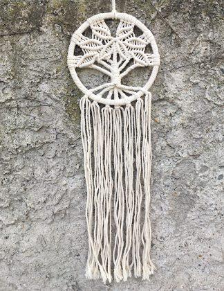 ručně vyrobený lapač snů drhaný strom života 80 cm
