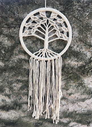 ručně vyrobený lapač snů drhaný strom života 85cm