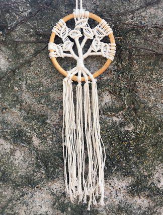 ručně vyrobený lapač snů drhaný strom života v bambusovém kruhu 45 cm