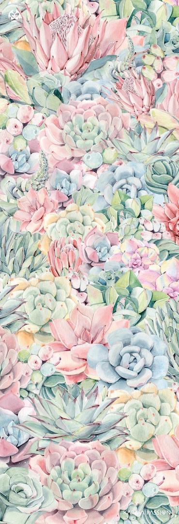protiskluzová jógová podložka Just Succulents