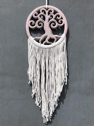 ručně vyrobený lapač snů dřevěný se stromem života růžový 70 cm