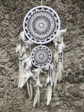 ručně vyrobený lapač snů bílý dva kruhy 80 cm