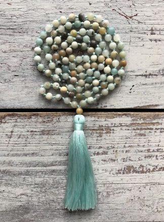ručně vyrobená meditační mala Amazonit barevný
