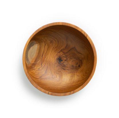přírodní miska z teakového dřeva malá rovný okraj pohled shora