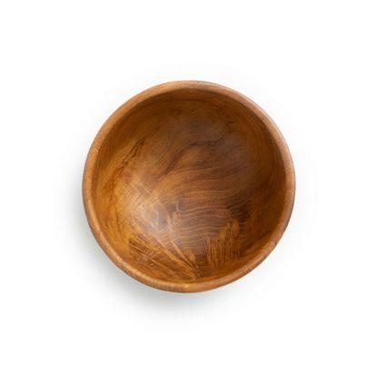 přírodní miska z teakového dřeva malá pohled shora