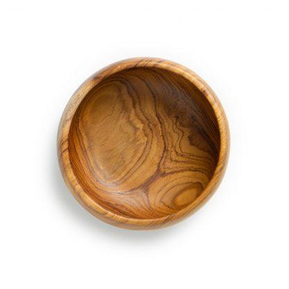 přírodní z teakového dřeva na smoothie bowl menší pohled shora