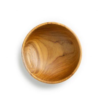 přírodní miska z teakového dřeva na smoothie bowl pohled shora