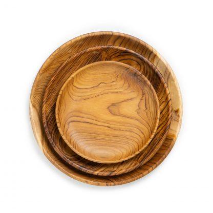 přírodní talíře z teakového dřeva velký, střední a dezertní