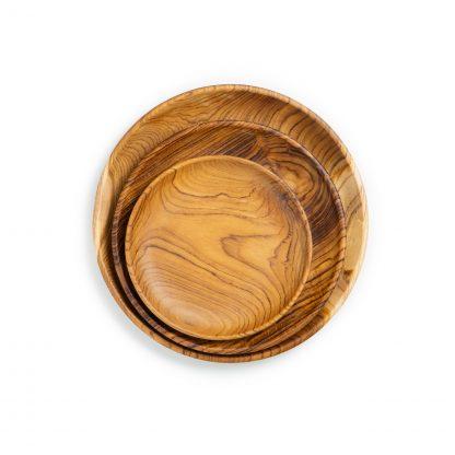 přírodní talíře z teakového dřeva velký, střední a dezertní srovnání