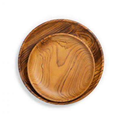 přírodní talíře z teakového dřeva střední a dezertní srovnání