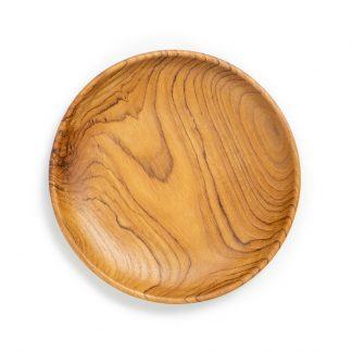 přírodní talíř z teakového dřeva dezertní