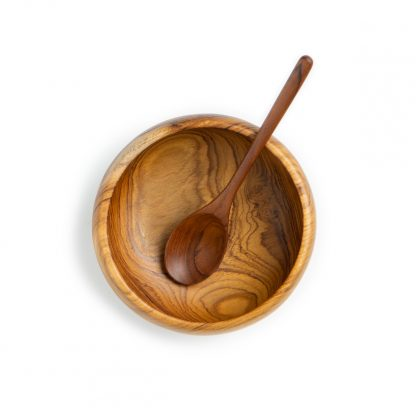 přírodní miska z teakového dřeva na smoothie bowl menší s polévkovou lžící střední