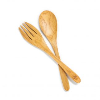 přírodní servírovací set z teakového dřeva lžíce a vidlička