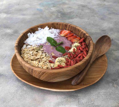 přírodní miska z teakového dřeva na smoothie bowl s oválným talířem a polévkovou lžící