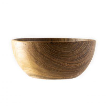 přírodní miska z teakového dřeva na smoothie bowl detail