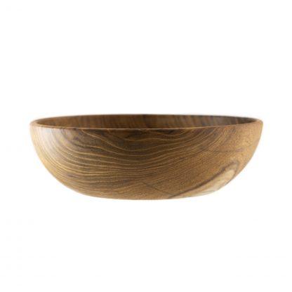 přírodní miska z teakového dřeva na salát detail
