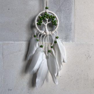 ručně vyrobený lapač snů strom života zelené korálky 15 cm