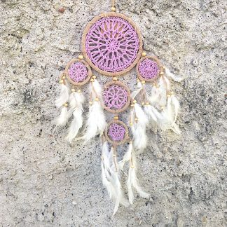ručně vyrobený lapač snů lila 50 cm