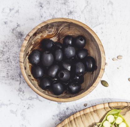 přírodní miska z teakového dřeva malá s olivama