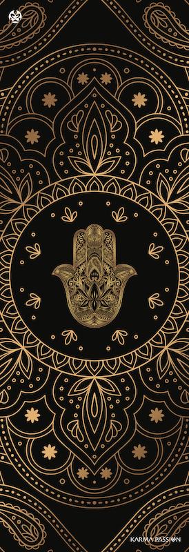 protiskluzová jógová podložka Hamsa black design