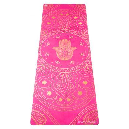 jógová podložka s ručníkem Hamsa lila 2v1