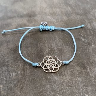 šňůrkový náramek Mandala a satén modrý