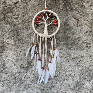 ručně vyrobený lapač snů se stromem života s čakrovými korálky 55 cm