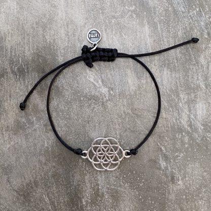 šňůrkový náramek Mandala a satén černý