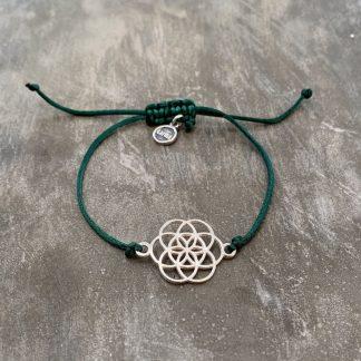 šňůrkový náramek Mandala a satén zelený