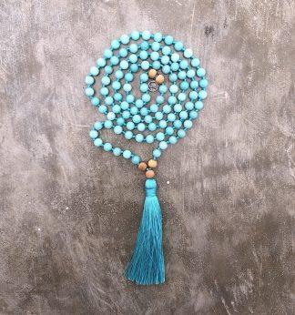 meditační mala Achát modrý a Santalové dřevo
