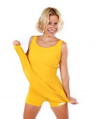 jógové šaty a kraťásky žluté