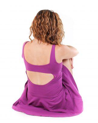 pohodlné elastické jógové šaty fialové